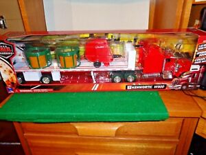 New Bright Long Haul Trucker 1/32  Kenworth W 900 With Hay Baler with Hay