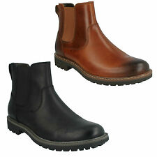 MENS CLARKS LEATHER SLIP ON ELASTICATED GUSSET CHELSEA ANKLE BOOTS MONTACUTE TOP