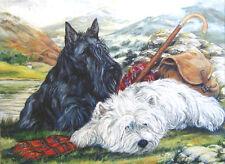 WEST HIGHLAND WHITE & SCOTTISH TERRIER DOG LIMITED EDITION PRINT Scottie Westie