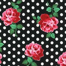 Michael Miller Retro Floral Dot Roses on Black fabric, LUCY- 1 3/8 yards