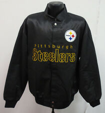 PITTSBURGH STEELERS LARGE JACKET MENS STITCH NFL FOOTBALL BLACK LIGHT WEIGHT