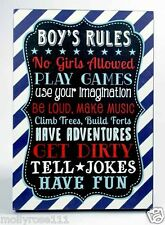 Cute Fun For Boys Childs Wall Deco ~ Boys Rule ~ Wooden Sign ~ Plaque ~