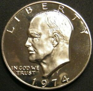 1974 S Eisenhower Dollar Gem Cameo Clad Proof Coin Ike From US Proof Mint Set