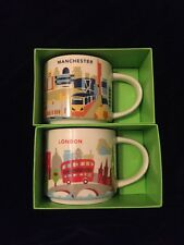 Starbucks London Manchester Mug Set YAH England Coffee Cup You Are Here UK New