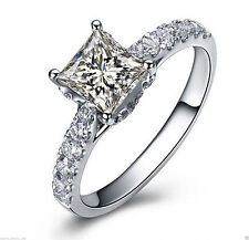 1.55 cts Princess Cut Solitaire Diamond Engagement Ring Solid 14k White Gold