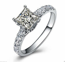 1.55 cts Princess Cut Solitaire Diamond Engagement Ring Solid 14kt White Gold