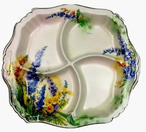 Royal Winton Grimwades Bluebells Divided High Tea Plate Dish Gold Leaf Rim