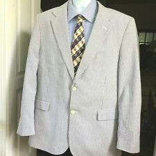 Meeting Street Men's Seersucker Gray White Blazer 44R Cotton lined