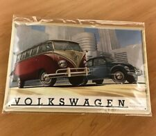 VW Vintage Early Bug & Bus Split Window Thick HD Metal Embossed Sign DRG-040-99