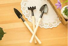 3-Piece Mini Garden Gardening Plant Tools Set Wooden Handles Shovel/Rake/Spade