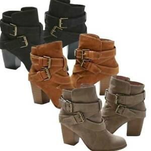 Ladies Suede Leather Ankle Boots Mid Block Chunky Heel Buckle Booties Shoes Size