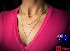 Ladies Elegant 18k Gold Filled Multilayer Chain Pendant Necklace Choker