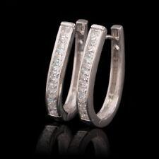 Pendientes de joyería transparentes de oro blanco de 18 quilates