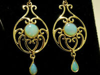 E039 Genuine 9ct Yellow Gold SOLID Natural Opal VICTORIAN insp. Drop Earrings