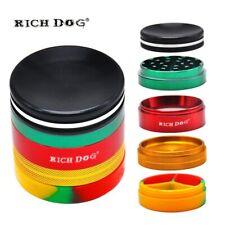 Rich Dog 2.48'' 5Pieces Rasta Color Aluminum Herbal Crusher Grinder In Stash Jar