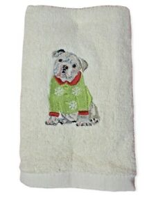 """Christmas Bull Dog Hand Towels Set of 2 Embroidered Ivory Pet 26x16"""" Cotton"""