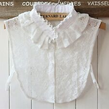Women Ruffled Neckline Detachable Half Shirt Fake Collars Lace Embroidered Bib