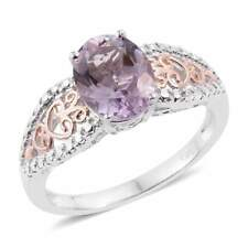 ROSE DE FRANCE AMETHYST OVAL SOLITAIRE LADIES RING 18K ION BRASS SIZE 6 NEW