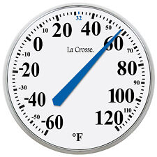 """104-114 La Crosse 13.5"""" Indoor/Outdoor Dial Thermometer with Key Hider - White"""
