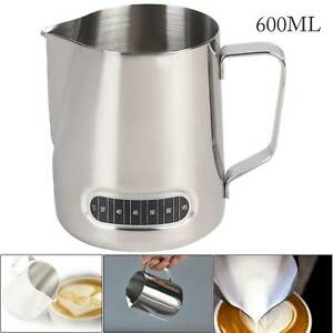 600ml Stainless Steel Milk Jug Frothing Frother Coffee Latte Pitcher Measure Cup