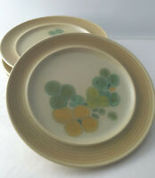 2 Franciscan Pottery Pebble Beach green yellow flowers salad plates 8.5 inches