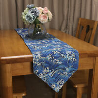 CURCYA Japanese Style Table Runners Sea Wave Printed Cotton Linen Table Runner