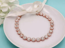 ROSE GOLD Crystal Rhinestone Wedding Headband Ribbon Headpiece