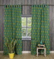 Indian Green Floral Printed Curtain Window Door Valances Cotton Curtain 2 PC Set