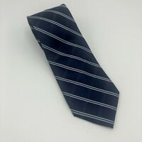 Tommy Hilfiger Crest Mens Dress Tie Classic Style Plaid Striped Blue Silver