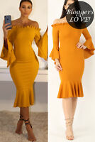 Womens Off Shoulder Frill Hem Long Sleeve Bardot Bodycon Midi Dress Size 8-16