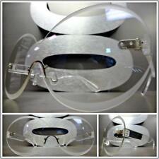 CLASSIC Rimless SHIELD Style Clear Lens Sun Glasses Transparent Fashion Frame