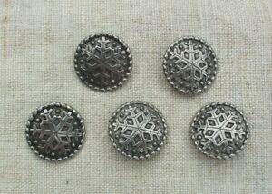 "Lot of 5 - Pewter Tinn Kofta buttons, Snowflake design, 7/8"" across, NORWAY"