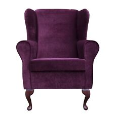 High Back Armchair Velluto Shiraz Fabric Wing Chair Fireside Living Room Lounge