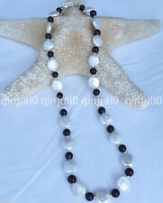 "Natural 11-12mm White Coin shape pearl&Black Agate necklace 18"" JN1307"