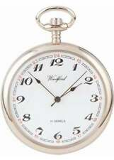 Woodford Chrome Plated 17 Jewel Mechanical Open Face Pocket Watch