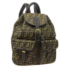 FENDI Zucca Pattern Backpack Hand Bag Purse Brown Black Canvas Leather AK46434