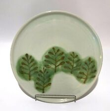 """Decorative Pottery Plate 12"""" Studio Art Handcrafted Light Green Leafs Signed"""