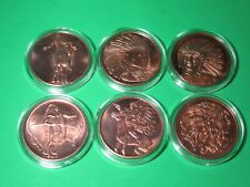 THE AMERICAN INDIAN SERIES Lot of 6 - 1 oz. Copper Rounds w/ Air-tite
