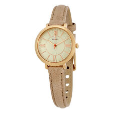 Fossil Jacqueline Silver Dial Sand Leather Ladies Watch ES3802