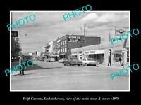 OLD LARGE HISTORIC PHOTO OF SWIFT CURRENT SASKATCHEWAN, MAIN St & STORES c1970