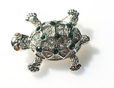 Turtle BROOCH with green crystals