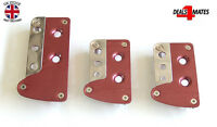 RED CHROME NONSLIP METAL PEDAL COVERS PADS FOR PEUGEOT 206 207 307 308 407