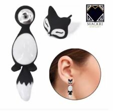MACKRI Animal Earrings Fox Fat Tailed Stainless Steel Stud Earrings BLACK