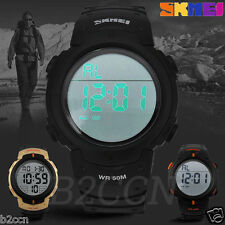 SKMEI Men's Digital Light Date Alarm Waterproof LCD Military Sports Wrist Watch