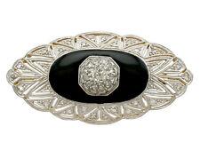 0.57Ct Diamond and Black Onyx, 15k Yellow Gold, Platinum Set Brooch - Art Deco