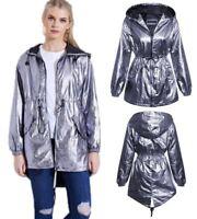 Womens Ladies Silver Metallic Parachute Style Parka Jacket Lightweight Coat