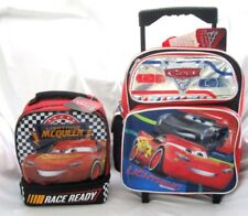 "CARS LIGHTNING MCQUEEN 14"" ROLLING BACKPACK + LIGHTNING MCQUEEN LUNCHBOX-NEW"