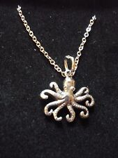 """Octopus Made From Fine Pewter On 16"""" Silver Plated Curb Chain Necklace codew13"""