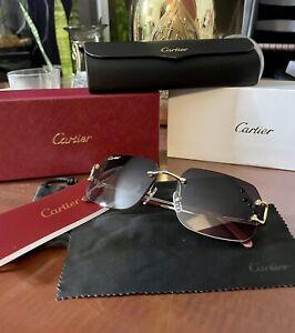 CARTIER Rimless PICCADILLY BIG C Decor Gold smooth Occhiali Frame Sunglasses