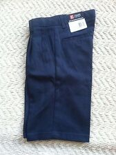 Chaps Boys Schoolwear Shorts Size 14Reg Navy Blue,Pleated Front Adjustable Waist